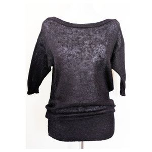 SISLEY Black Mohair Sweater Top XS